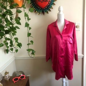 Vintage Magenta Christian Dior Satin Sleep Shirt